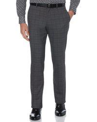 Perry Ellis Slim Fit Non-iron Plaid Suit Pant - Gray
