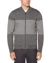 Perry Ellis Big & Tall Stripe Sweater - Gray