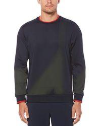 Perry Ellis Printed Neoprene Crew Sweater - Blue
