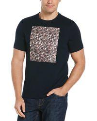 Perry Ellis Floral Graphic Logo Crew Neck Tee - Black