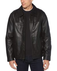 Perry Ellis Classic Leather Jacket - Black