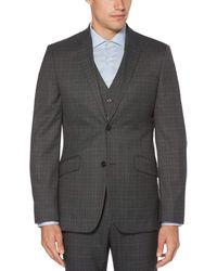 Perry Ellis Slim Fit Washable Plaid Tech Suit Jacket - Gray