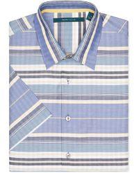 Perry Ellis - Short Sleeve Horizontal Striped Button-down Shirt - Lyst