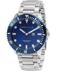 Perry Ellis - Deep Diver Navy Stainless Steel Watch - Lyst