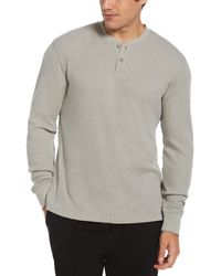 Perry Ellis Thermal Heather Henley Sleep Shirt - Grey