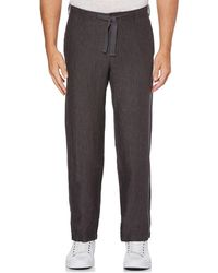 Perry Ellis Drawstring Linen Pants - Gray
