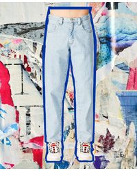 Perry Ellis Relaxed Bleached Jeans - Blue