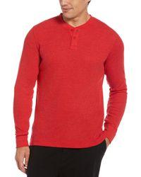 Perry Ellis Thermal Heather Henley Sleep Shirt - Red