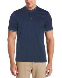 Perry Ellis Solid Henley Shirt - Blue