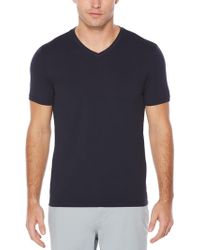 Perry Ellis - Short Sleeve Solid V-neck Shirt - Lyst