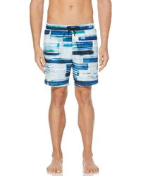 Perry Ellis Paint Brush Stroke Swim Short - Blue
