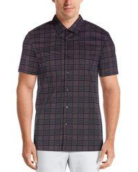 Perry Ellis Slim Fit Geo Print Shirt - Blue