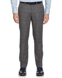 Perry Ellis Very Slim Fit Subtle Plaid Suit Pant - Grey