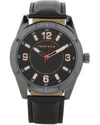 Perry Ellis Portfolio Black Silver Watch