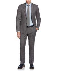 Perry Ellis Very Slim Fit Subtle Plaid Suit - Grey