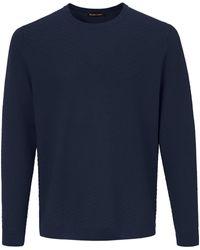 Louis Sayn Rundhals-Pullover aus 100% Schurwolle blau