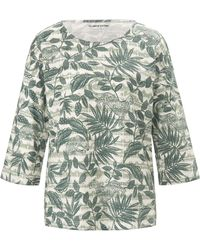 Green Cotton Rundhals-shirt 3/4-arm - Grün