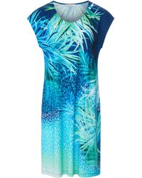 Féraud La robe imprimé léopard et feuilles taille 38 - Bleu