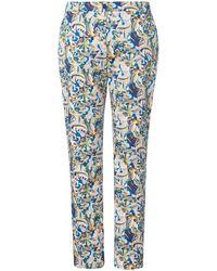 Emilia Lay Le pantalon imprimé fleuri taille 46 - Bleu
