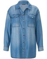 Samoon La chemise jean avec manches longues taille 56 - Bleu