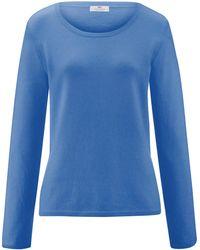 Peter Hahn Cashmere Rundhals-pullover aus 100% premium-kaschmir - Blau