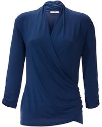 Peter Hahn - V-Shirt 3/4 Arm blau - Lyst