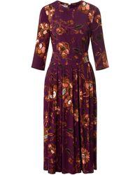 St. Emile La robe encolure ras-de-cou et manches 3/4 taille 40 - Violet