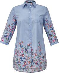 Emilia Lay Le chemisier long pur coton, manches 3/4 taille 58 - Bleu