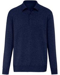 Peter Hahn Cashmere Polo-pullover aus 100% premium-kaschmir - Blau