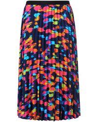 Emilia Lay La jupe plissée avec ceinture élastiquée unie taille 46 - Bleu
