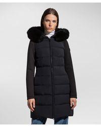 Peuterey Lange Jacke aus zwei Materialien - Schwarz