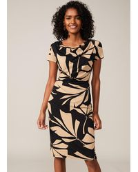 Phase Eight Kadia Palm Print Fitted Dress - Black