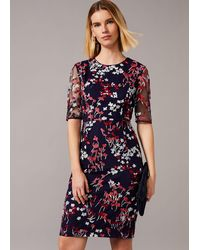 Phase Eight Teodora Floral Embroidered Dress - Blue