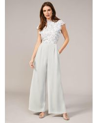 Phase Eight Fran Wide Leg Floral Print Bodice Jumpsuit - White