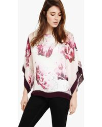 Phase Eight Peony Floral Silk Blouse - Multicolour