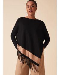 Phase Eight Athena Tassel Stripe Knit Top - Black
