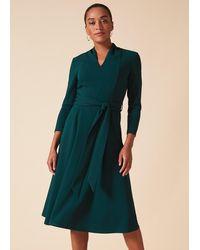 Phase Eight Maretta Pleat Tie Waist Dress - Green