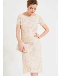 Phase Eight Rosalie Tapework Dress - Natural