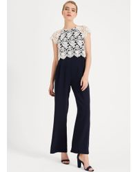 Phase Eight Katy Lace Jumpsuit - Blue