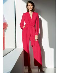 Phase Eight Audrey Blouson Sleeve Jumpsuit - Red