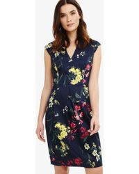 Phase Eight - Navy Multi-coloured Mila Floral Print Dress - Lyst