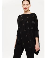 5a343a7d838 Phase Eight Eliora Embellished Collar Knit Jumper in Black - Lyst