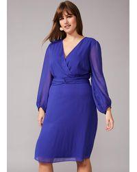 Studio 8 Sizes 16-26 Ultra Violet Felicity Twist Dress - Blue