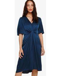 Phase Eight - Blue Rosina Fluted Knot Midi Dress - Lyst