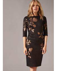 Phase Eight Farah Floral Foil Fitted Dress - Metallic