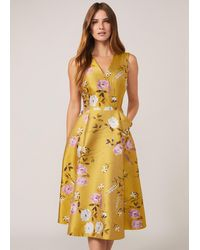 Phase Eight Multicoloured Cecily Jacquard Fit & Flare Dress - Yellow