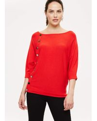 Phase Eight - Natka Button Batwing Knit - Lyst