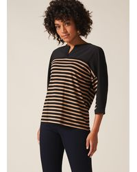 Phase Eight Dominique Stripe Shirt - Black