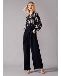 Phase Eight Navy And Multi Gracen Palm Print Jumpsuit - Blue