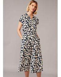 Phase Eight Palm Print Culotte Jumpsuit - Blue
